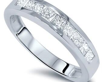 1.10CT Princess Cut Channel Set Diamond Wedding Ring Mens & Womens 14 Karat White Gold