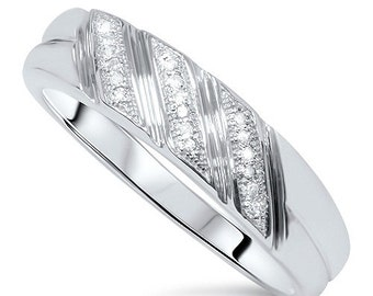 Mens Diamond Ring Wedding Band 10 KT White Gold 1/5 Carat