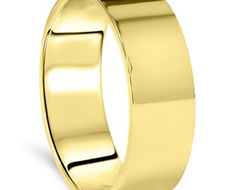 Men's 10k Yellow Gold 7mm Flat Plain Wedding Band High Polish