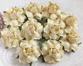 25 Handmade Mulberry Paper Flowers cream Wedding Roses Code SM - 147