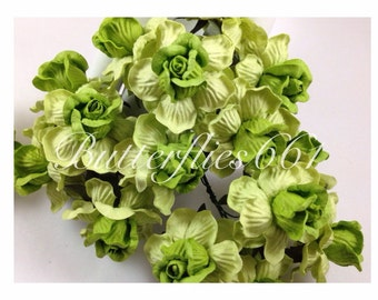 10 Handmade Mulberry Paper Flowers of Green 2 Tone Large Wedding Roses Code 735