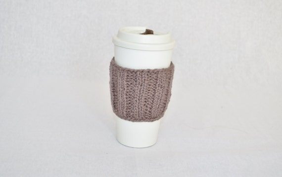 Cotton travel cup sleeve brown hand knitted