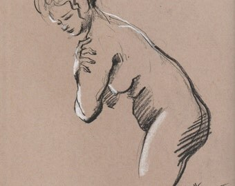 Nude  standing - Original Charcoal Pencil Drawing from Life Model