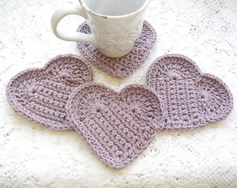 Drink Coasters- Lilac Crochet Coasters - Purple Crochet Heart Coaster Set  - Cottage Chic - Cottage Style Home Decor - Rustic Decor