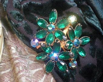 Green Flower Rhinestone Brooch