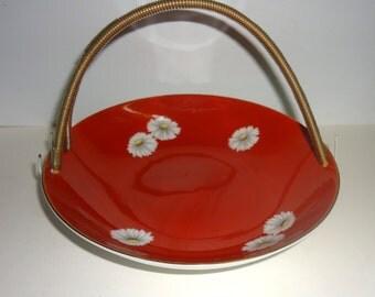 Noritake Nippon Toki Kaisha Red Daisy Basket Bowl with Handle