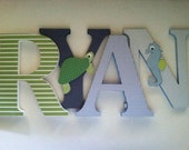 Wooden letters for nursery  in navy,blue and green