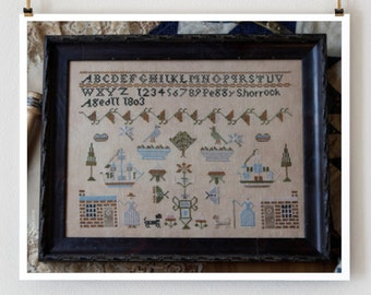 cross stitch patterns: Peggy Shorrock 1803 Plum Street Samplers reproduction sampler counted hand embroidery
