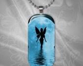 Blue Moon Fairy glass tile pendant