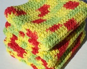 Crochet Washcloths, Red, Yellow, Green Variegated Peace Washcloths, Cotton Washcloths, Wash Cloths