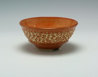 Handmade Ceramic Bowl in Orange Brown with hand Carved Texture/Ceramics and Pottery