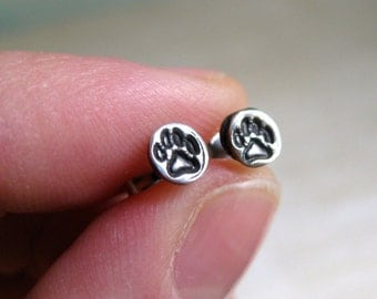 Itty Bitty Puppy Paws//Hand Stamped Fine Silver Stud Earrings// 4mm Fine Silver Earrings// Portion of All Sales to Animal Rescue//Petite