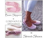 2in1-PACKAGE for Lacey SlingBack-Slippers Crochet Pattern, incl Tutorial Tailored CORD-Soles with Treatment  - Instant Download