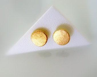 Eco friendly Stud Earrings. 14k Gold Unisex Stud Earrings. Handmade Jewelry  by Amallias
