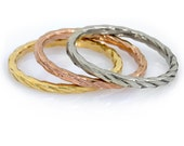 14k Rope wedding ring. Gold staking ring. unique gold ring. Delicate wedding ring (gr-9151)