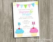 PRINTABLE INVITATIONS Twins Cupcake Birthday Party Celebration - Memorable Moments Studio