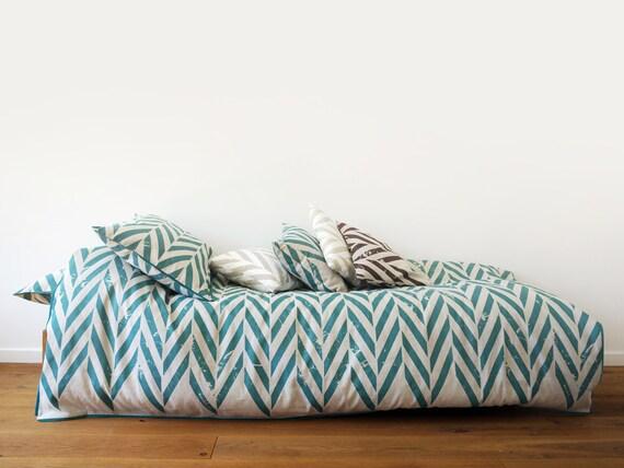 Linen bedding set Toddler size by Lovely Home Idea Aqua Chevron Zig Zag pillowcase duvet fitted sheet