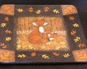 Primitive Folk Art Foxes on Square Plate - Mother and Baby Fox in an Autumn Wood with Fall Leaves