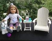 """White set of 2 Adirondack chairs and table for 18"""" American Girl Doll"""