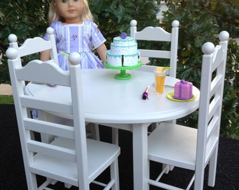 American Girl Doll: Furniture, oval table and 4 chair set white