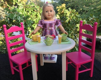 American Girl Doll: Furniture, Table, two chair set, magenta and white