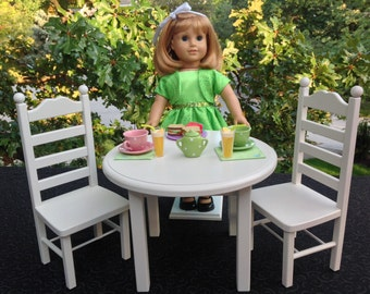American Girl Doll: Furniture, round table and 2 chair set, all white