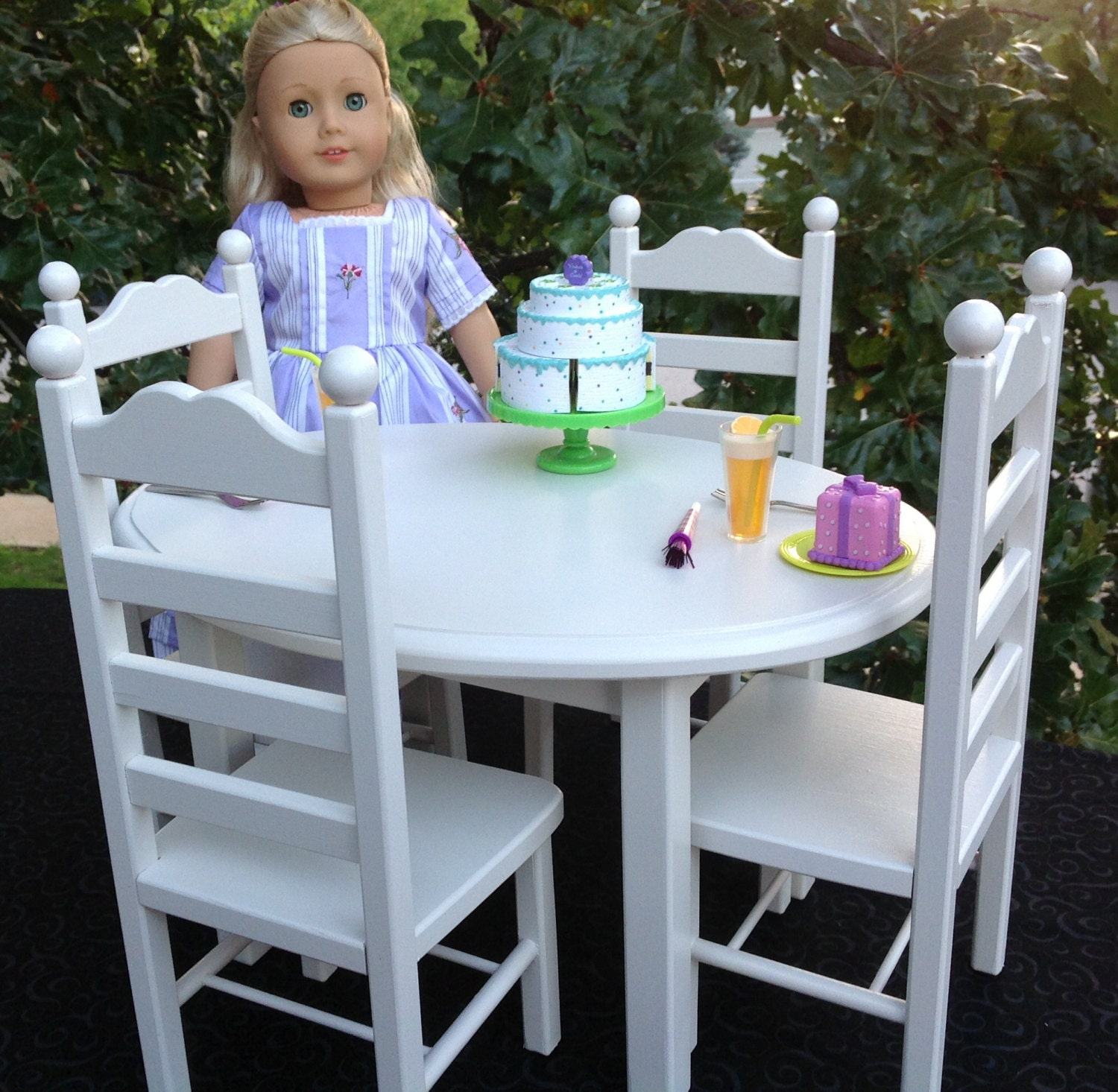 American Girl Doll Furniture Oval Table And 4 Chair Set