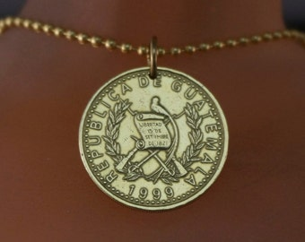 Guatemala necklace - COIN JEWELRY - coin necklace  -coin  pendant - quetzal bird - mens jewelry.- chain   No.001694