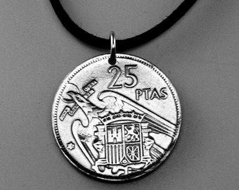 vintage SPAIN necklace - spanish  coin jewelry - madrid  charm - mens coin - mens pendant - spaniard -  PartsForYou No.001692