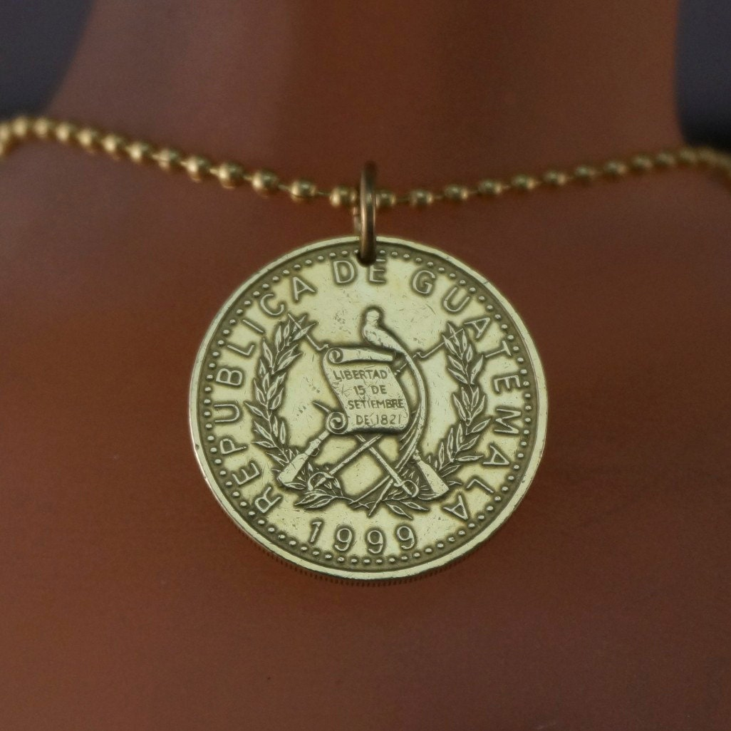 Guatemala Necklace Coin Jewelry Coin Necklace Coin