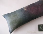 Linen Long  Pillowcase . Printed original motif. Violet and Blue gray .. R e e f  /  FRAGMENTS