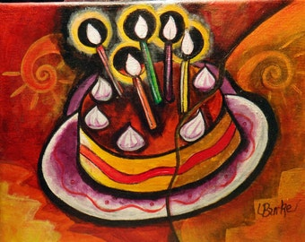 Birthday Cake  Acrylic Painting