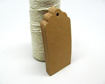 Brown Kraft Gift Tags, Blank Kraft Tags with Kraft Paper Ties