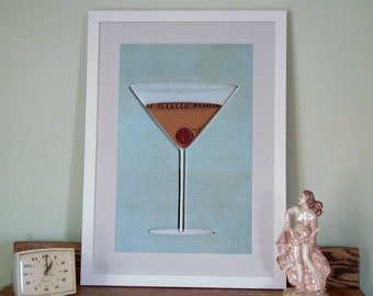 Manhattan Cocktail Poster, Bar Art Print, quilled cocktail with cherry, quilling art print, Paper art print, 12x18in, Ready to ship