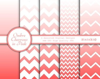 Pink Ombre Digital Paper - Pink Chevrons - Ombre Chevron Scrapbooking Paper - Instant Download - Commercial Use CU - Digital Sc