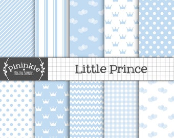 Baby Boy Digital Paper,  Baby Blue Scrapbooking Paper,  Invitation Paper,  Pastel Blue, Light Blue, Blue Polka Dot, Blue Stripe Pattern