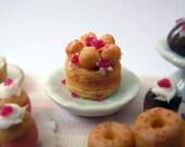 OOAK Dollhouse Miniature Polymer Clay Raspberry and Vanilla Charlotte Cake