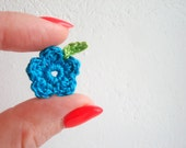 Crochet Flowers & Leaves, Garden / Meadow Appliques, Tiny Small Turquoise Flowers, Spring Green Crochet Leaves, Decorative Motifs, Set of 7