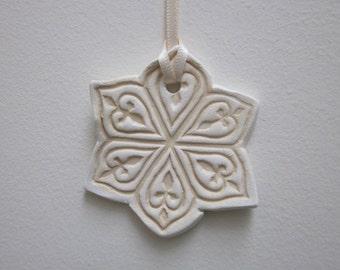 Large Pale Gold Snowflake Ceramic Hanging Ornament