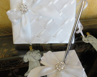 Elegant Wedding Guest Book and Pen Set with Swarovski Crystals - Custom Made to Order