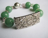 Aventurine Bracelet ./. Green Aventurine ./. Vintage Filigree ./. Vintage Connector ./. Natural Green Stones ./. Rhinestone Connector ./.