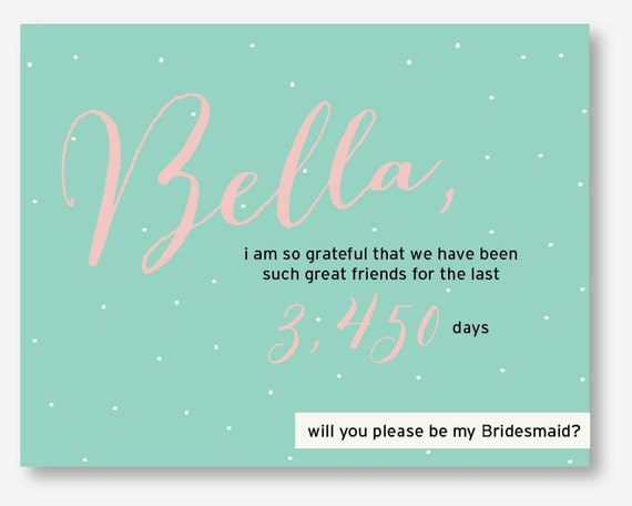 Will You Be My Bridesmaid Customized Card