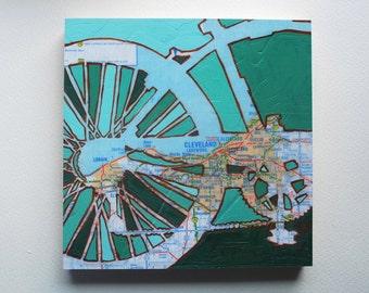 Bike Cleveland mounted print - Cleveland, Lakewood, Lorain Ohio bicycle art