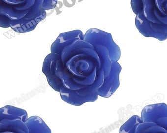 Large Detailed Royal Blue Rose Deco Resin Cabochons, Flower Shaped, Flatback Roses, 20mm x 9mm (R1-006)