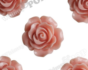 Large Detailed Coral Rose Deco Resin Cabochons, Flower Shaped, 20mm Rose Cabochons, 20mm x 9mm (R1-008)