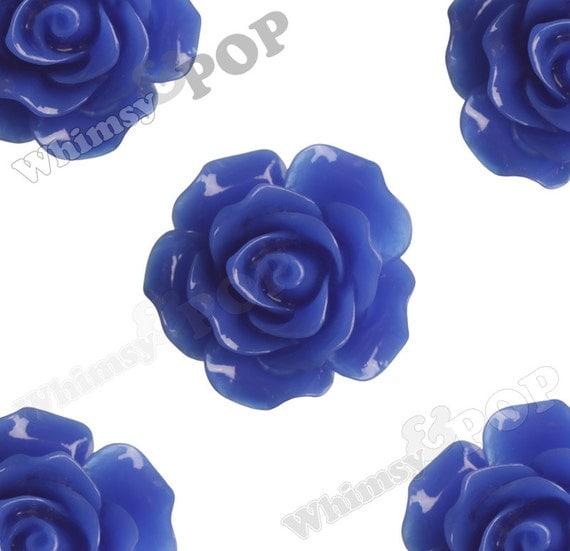 Large Detailed Royal Blue Rose Deco Resin Cabochons, Flower Shaped, Flatback Roses, 20mm x 9mm (R1-006)