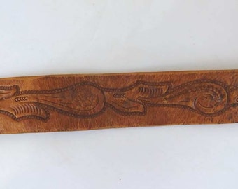 Vintage Wide Leather Belt Tooled Paisley Leather Buckle
