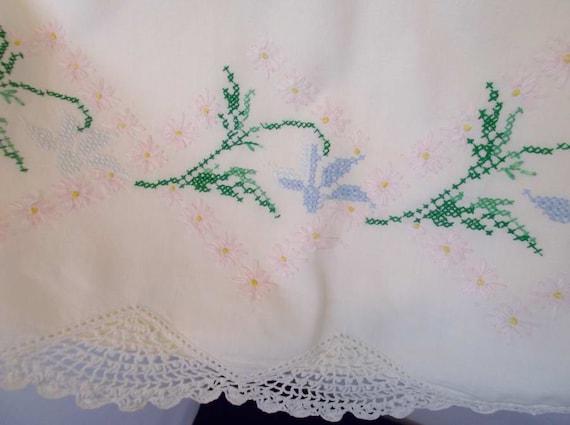 Vintage White Cotton Pillow Case Feminine Embroidery Hand Crochet Lace Trim