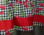 """CHERRIES on B/W Check with Ribbon Trim lined ir unlined Valance Cotton 40 x 12"""" or 14"""" Vintage Look  Print Window treatment"""