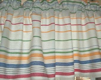 TOWELING STRIPES VALANCE  Cotton 45 x 13  Retro Kitchen Border stripe Window Curtain